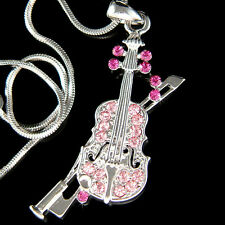 w Swarovski Crystal Fiddle ~Pink VIOLIN Bow Music Musical Pendant Chain Necklace