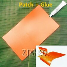 "9.4""x14"" Orange PVC Patch +Glue for Inflatable Boat Kayak Raft Bouncer Water Toy"