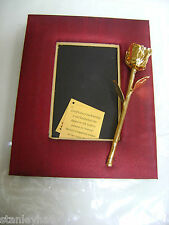 24K Gold Dipped Real Rose in Vintage Red Row Silk Photo Frame for Special Day