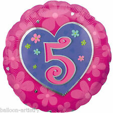 "18"" Pink Heart And Flowers Happy 5th Birthday Round Foil Balloon"
