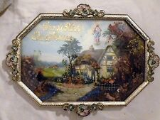 VINTAGE RELIGIOUS GOD BLESS OUR HOME 3D PICTURE -BUBBLE GLASS ORNATE METAL FRAME