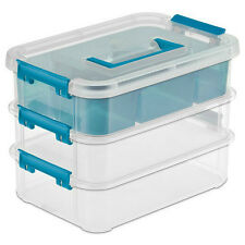 Sterilite 14138606 Stack & Carry 3-Layer Handle Box with Divider Tray