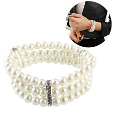 Stylish Women Shine Pearl Crystal Bracelet Wristband Wedding Bridal New