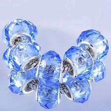 5pcs blue Crystal murano glass beads Silver Charms fit European Bracelet