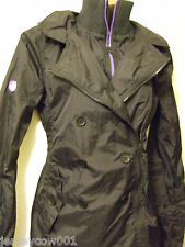 NEW £70 SUPERDRY MEDIUM POP ZIP LITE MAC JACKET BLACK & PURPLE - SIZE 12