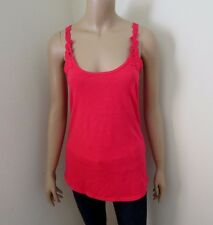 NEW Hollister Womens Lace Crochet Tank Top Size Large Racerback Shirt Hot Pink