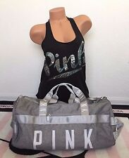 Victoria's Secret Pink Heather Light Gray White Gym Duffle Getaway Travel Bag