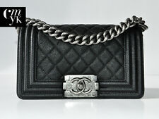 NEW CHANEL BOY CAVIAR SMALL RUTHENIUM HW BLACK FLAP BAG WOC ~RARE