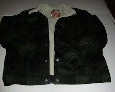 Nwt Mens Levis Dark Green Plaid Sherpa Fur Lined Trucker Jacket Coat XXL