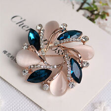Fashion Women Diamond Crystal Bauhinia Elegant Brooch Ladies Dress Pin Accessory