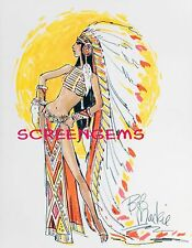 CHER photo costume sketch by Bob Mackie TV Sonny and Cher 1970s Indian headdress