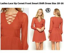LADIES CORSET LACE UP FRONT SMART DRESS SIZE 6-16 PARTY SHIFT TUNIC SKATER WORK
