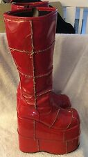 DEMONIA mega platform frankenstein goth grung Red vegan leather boots 6.5(US)M
