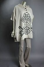 New MINK PINK Oatmeal Cream Black Stitch Button Hoodie Tie Poncho Jacket XS/S