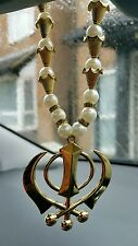 Gold Plated Punjabi Sikh Large Khanda Pendant Car Hanging white Pearl Beads