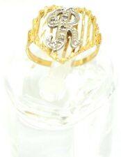 """14kt Solid Ladies Diamond Set Initial """"R"""" Heart Shaped Ring Size 6"""