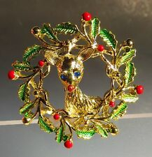 GERRY'S signed Christmas Wreath with Deer great condition BROOCH