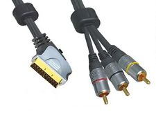 75cm Scart to 3 RCA Phono Male Gold Plated Lead with Switchable Input/Output