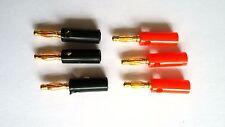 """3x pares de rojo y negro 4mm """"Banana"""" Enchufes chapado en oro Tornillo conectar"""