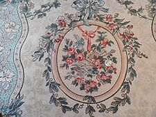 """Vintage French H.F Handblocked Floral Linen Fabric c.1920~38""""L X 26""""W~Collectors"""