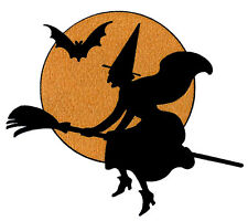 NOVELTY WITCH ON BROOMSTICK HALLOWEEN 12 STAND UP Edible Image Cake Toppers