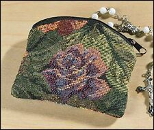 Tapestry Cloth Rosary Case with Zippered Closure  (PS061)
