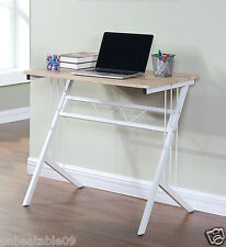 Computer Desk PC Table Home Office Furniture Oak Effect Table White Metal Legs