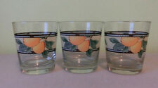 Vintage Lot of 3 Water Juice Drink Glasses Fruit Pears Grapes Plums