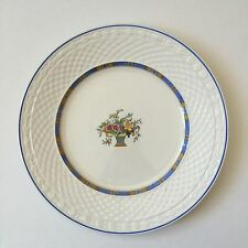 W H Grindley & Co Carlton Shape 10 inch White Plate with Blue Trim Basket Weave
