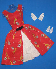 Vintage Barbie Garden Tea Party Floral Print & Eyelet Red Dress #1606 Complete