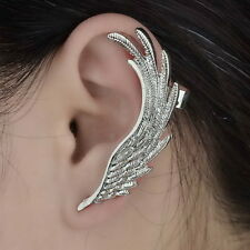 Gothic Wing Silver Plated Trendy Long Ear Stud Clip Wrap Earring Jewelry