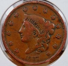 1837 CORONET HEAD LARGE CENT VERY FINE NICELY DETAILED EVEN LIGHT MAHOGANY BROWN