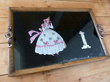 vintage tray wooden with reverse glass painting and foil 1940s- glass topped