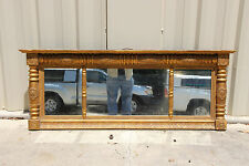 Federal Classical Empire Period Gold Gilt Buffet Over Mantle Mirror  ~ Ca.1830