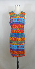 SAG HARBOR size 10/12  WOMAN'S RAYON SHEATH DRESS BLUE, RED MULTI