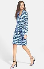 Diane von Furstenberg SZ 14 DVF New Jeanne Two Herringbone Cornflower Wrap Dress