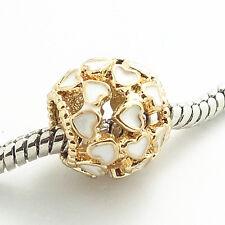 Fashion 1pcs gold Flowers European Charm Beads Fit 925 Bracelet Necklace #111