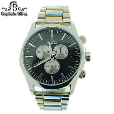 MEN'S DESIGNER STYLE ELEGANT LOOK DRESS CAPTAIN BLING WATCH #WM 596