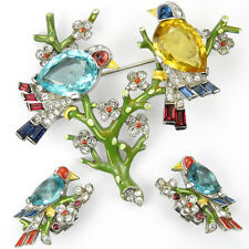 Trifari Philippe Aqua Citrine Enamel Birds on Branches Pin & Clip Earrings Set