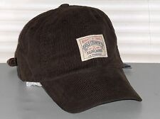 POLO RALPH LAUREN Corduroy Hat, Sport Baseball Ball Cap, BROWN, Leather Strap