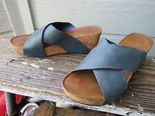 Chocolat Blu MELISSA Cork Platform Wedge Sandal US 9 Blue Leather Upper CUTE