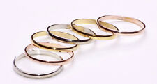 GREAT SET OF 6 GOLD/SILVER/ROSE GOLD TONE SLIM METAL RINGS MODERN LOOK (ZX33)