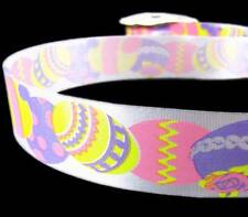 ".33/yd - 3 Yds Purple Pink Yellow Easter Eggs White Acetate Ribbon 1 5/16""W"