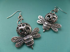 NEW! Flying 3d Bee - Tibetan Silver Earrings - in Organza bag - Vintage.
