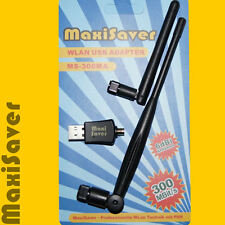 300 Mbit/s Mini WLAN Stick + POWER 6dBi ANTENNE SMA-Buchse WPS USB Dongle Karte