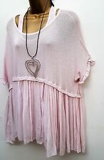 New Italian Lagenlook Baby Pink flared tunic Top & vest uk 12 16 18 20 22