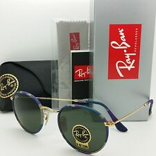 AUTHENTIC NEW Rayban Round Sunglasses RB3447 JM 172 50 Gold Blue Multi Lennon