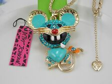Betsey Johnson gem crystal pendant necklace cute turquoise  mouse