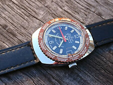 Vintage 1970´s NOS Duxot World Time Swiss Made Date Watch 17 Juwels Brown