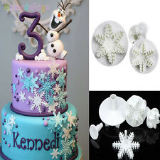 3pcs Snowflake Plunger Cutter Mold Sugarcraft Fondant Cake Decorating DIY Tools